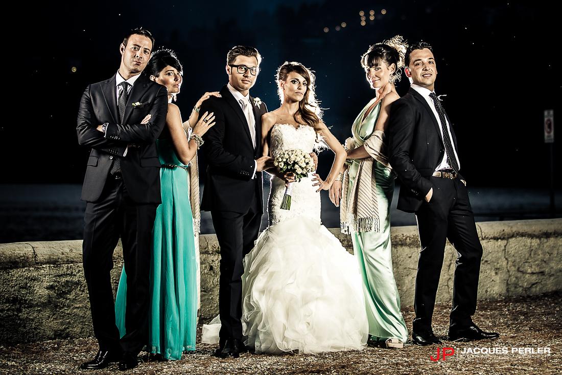 Fotografia di gruppo: sposi con testimoni